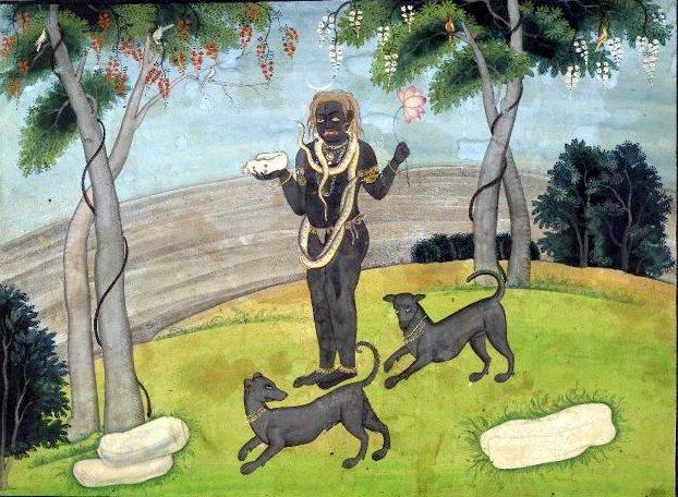 Kāla Bhairava Kuladevata of Vaidya manetana Soratoor with black dogs